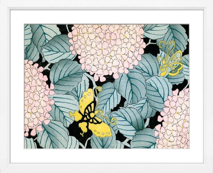 Hydrangeas and Butterflies