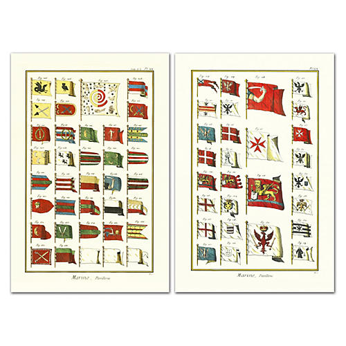 Marine Flags Pavillons Diptych
