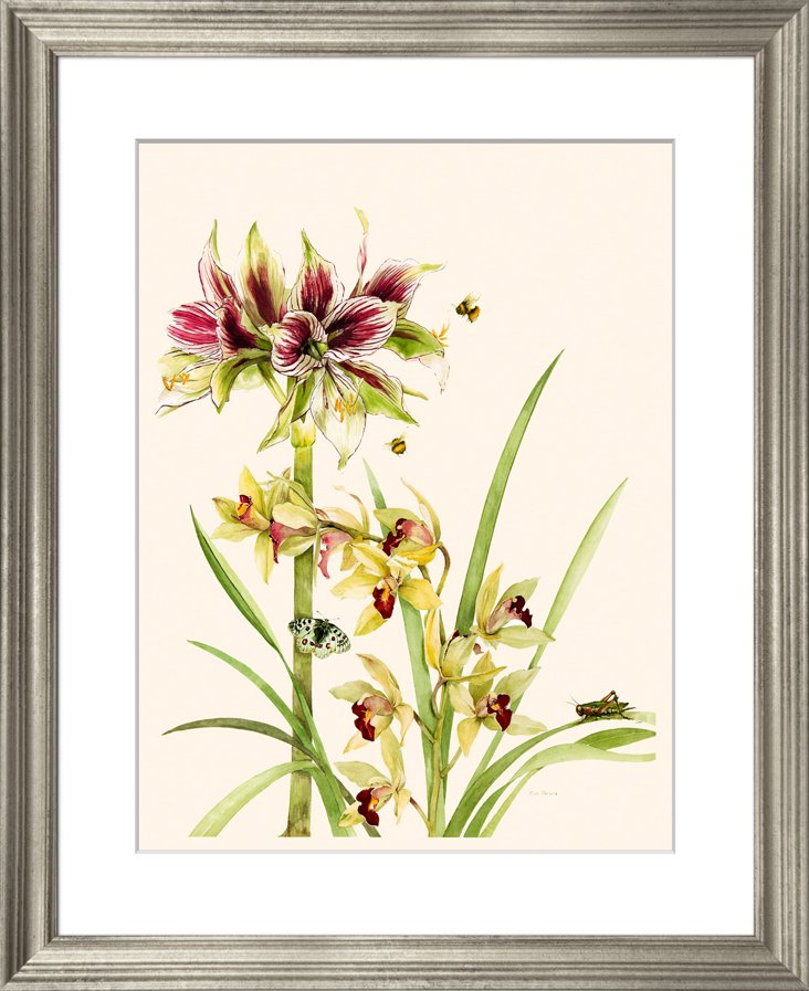Lilies and Orchids Print