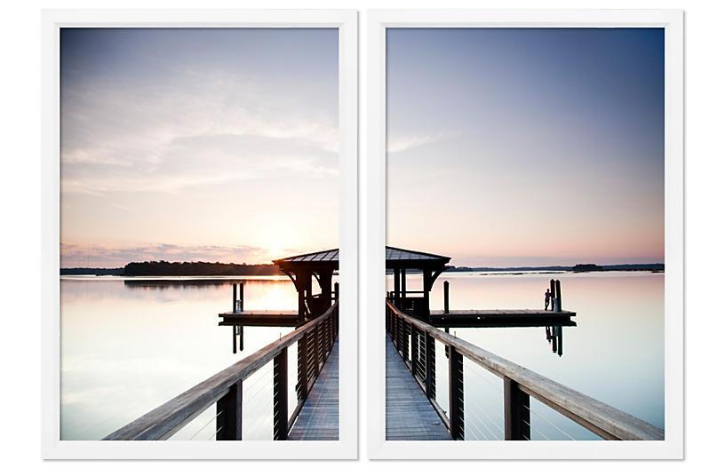 Lake Pier Diptych - William Stafford Art