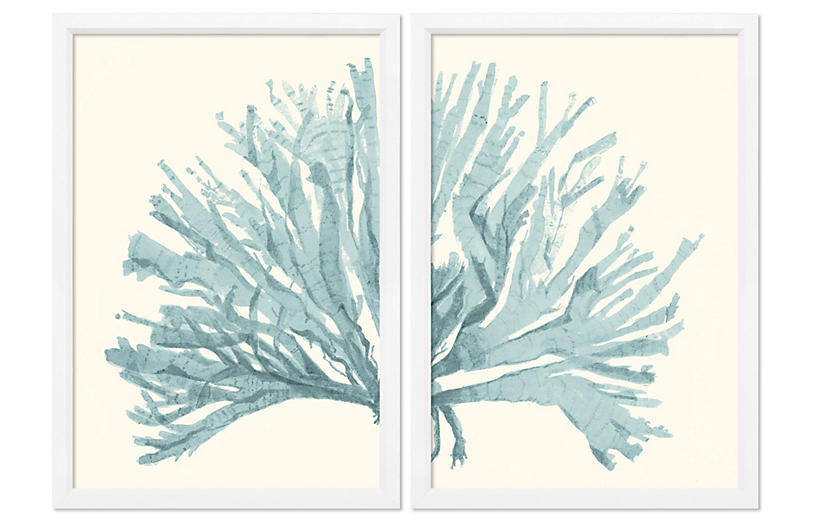 Miranda Baker - Teal Blue Coral Diptych - William Stafford
