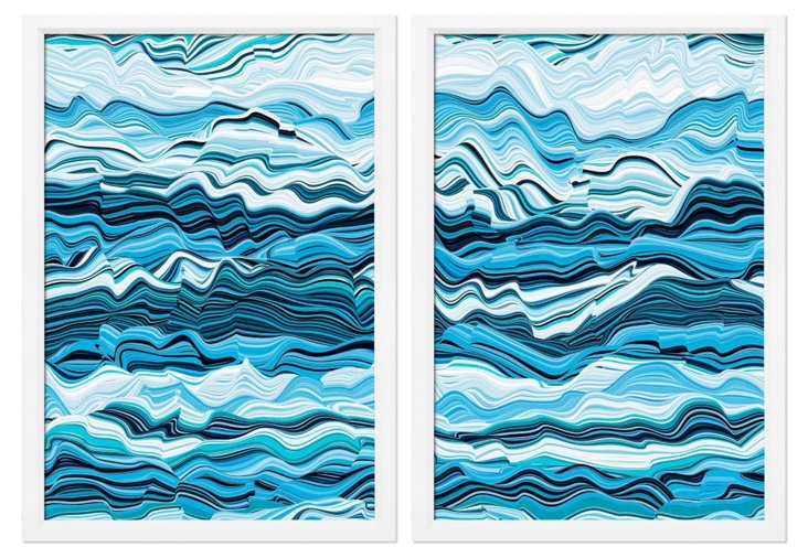 Abstract Waves Diptych