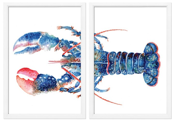 New England Lobster I Diptych