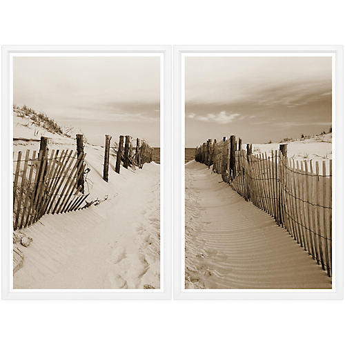 , Beach Path Sepia Diptych