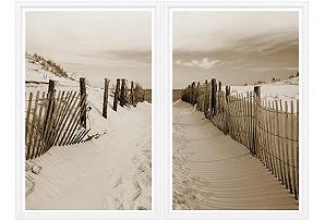 Beach Path Sepia Diptych
