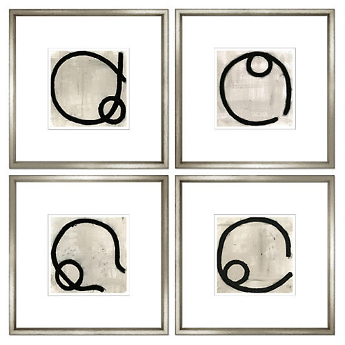 Felix Lucas, Charcoal Abstract, Set of Four