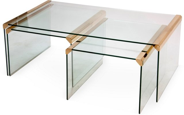 Glass Waterfall Tables, Set of 3