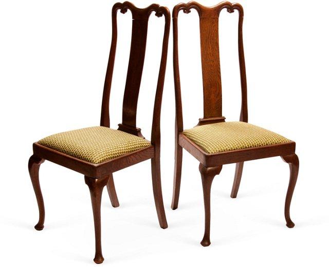 Oak Chairs, Pair