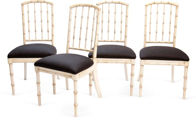 Bamboo-Style Chairs, Set of 4