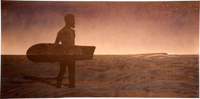 Ancient Hawaiian Surfer at Dusk Print