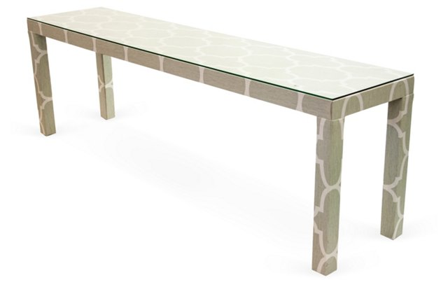 Linen-Covered Parsons Table