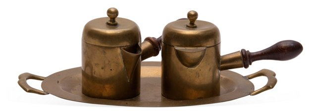 Brass Espresso Set, 3 Pcs