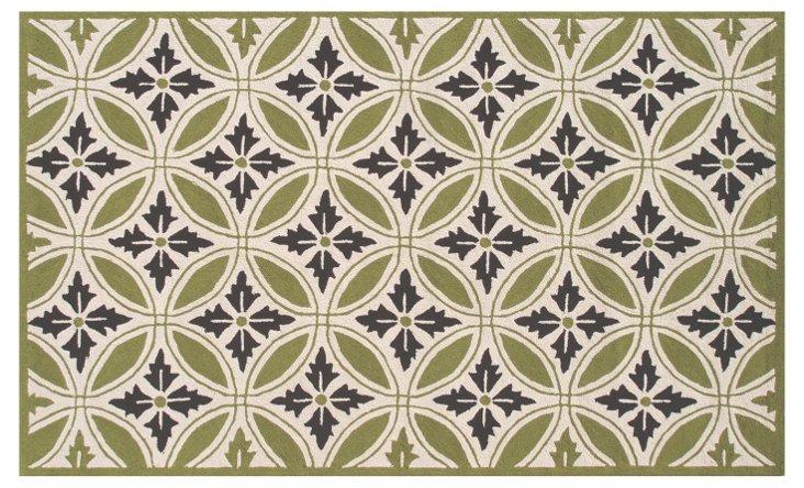 Florin Outdoor Rug, Green/Cream