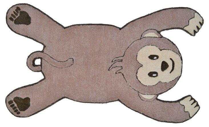 "2'8""x4'8"" Monkey Rug, Brown"