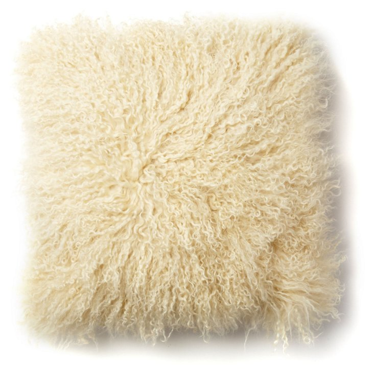 Mongolian Lamb 16x16 Pillow, Cream