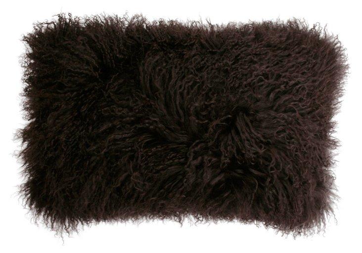 Mongolian 12x20 Lamb Pillow, Coffee Bean