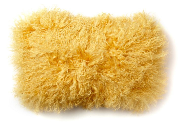 Mongolian 12x20 Lamb Pillow, Mimosa