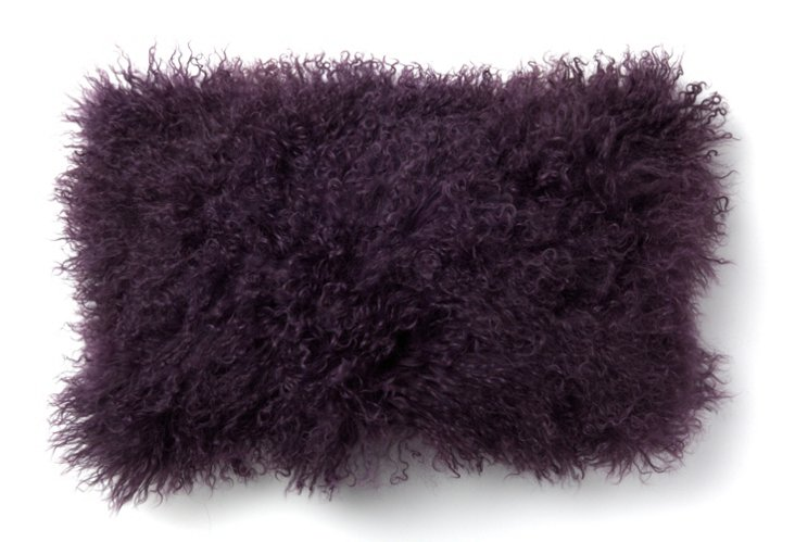 Mongolian Lamb 12x20 Pillow, Plum
