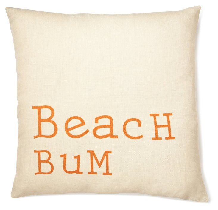 """Beach Bum"" 20x20 Pillow, Burnt Orange"