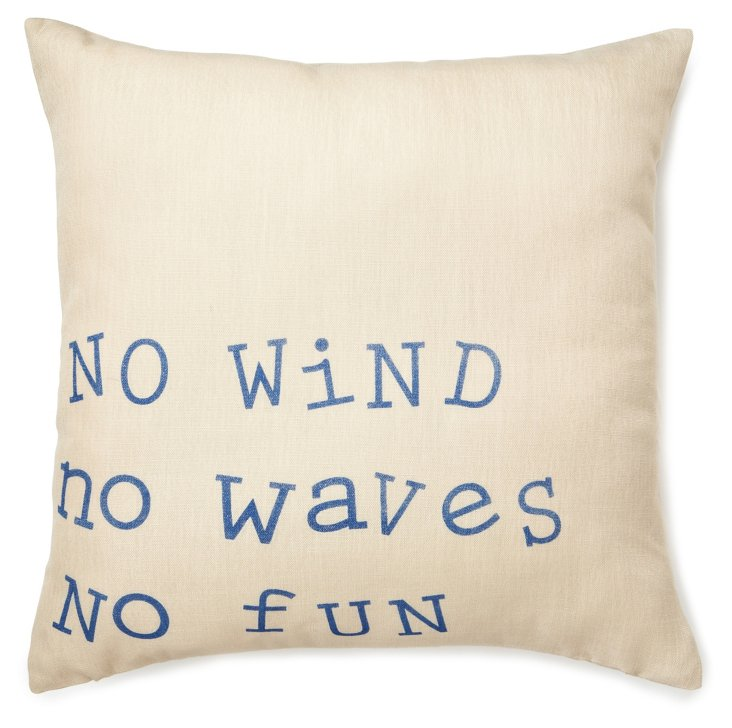 """""""No Waves"""" 20x20 Pillow, Blue"""