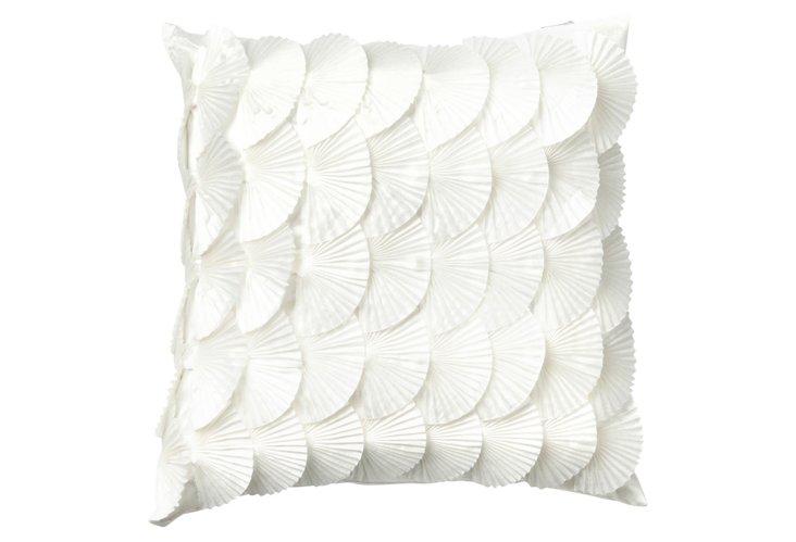 Scalloped Petal 18x18 Pillow, White