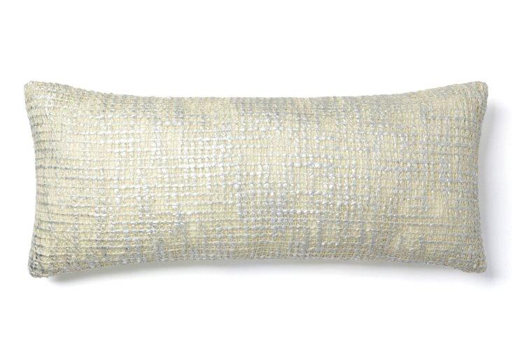 Nico 8x20 Pillow, White/Silver
