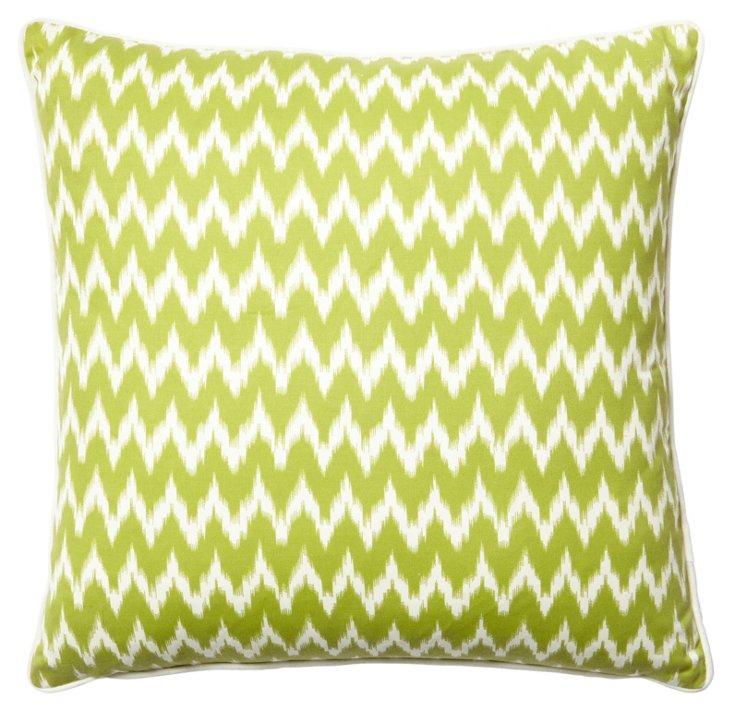 Ikat 20x20 Cotton Pillow, Green