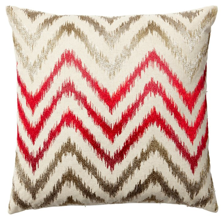 Ziggy Embroidered 18x18 Pillow, Red