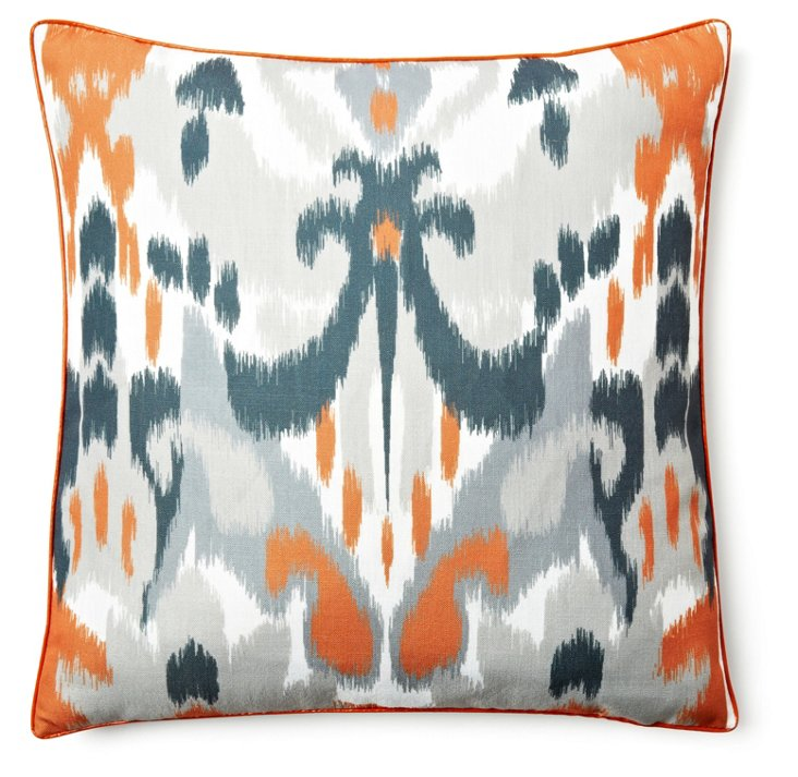 Zia Ikat 20x20 Pillow, Burnt Orange