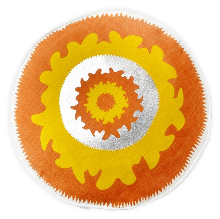 Suzani Round Pillow, Orange
