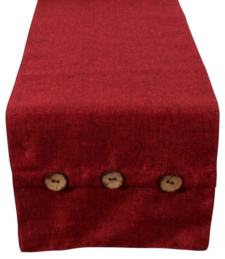 Chelsea Weave Button Runner, Red