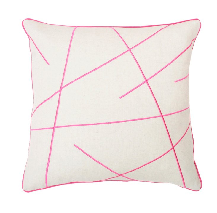 Morgan 20x20 Embroidered Pillow, Pink