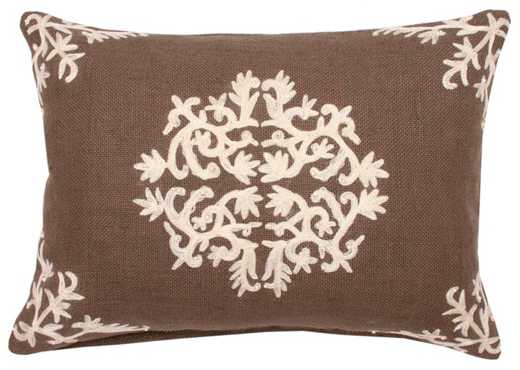 Antonia 13x18 Embroidered Pillow, Taupe