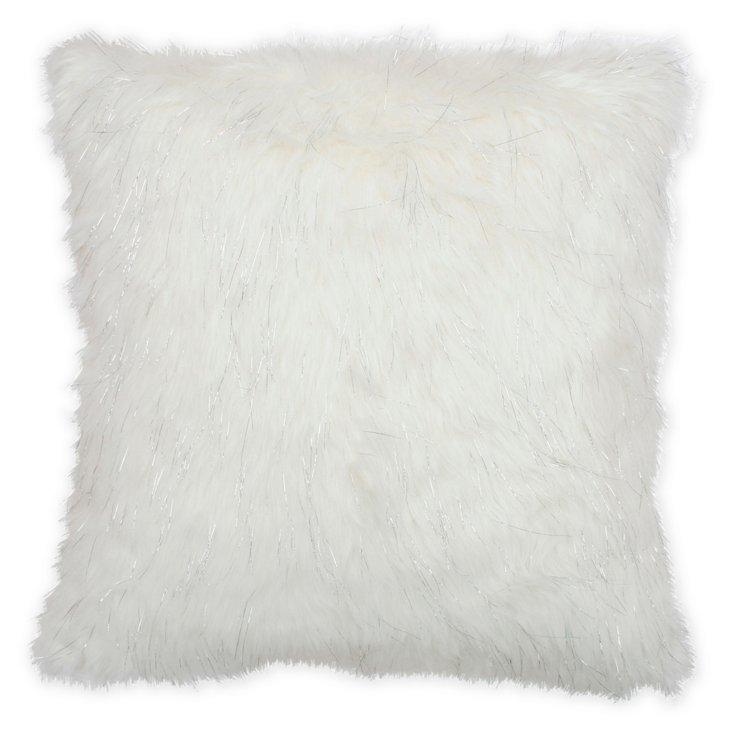Kristy 20x20 Faux-Fur Pillow, White