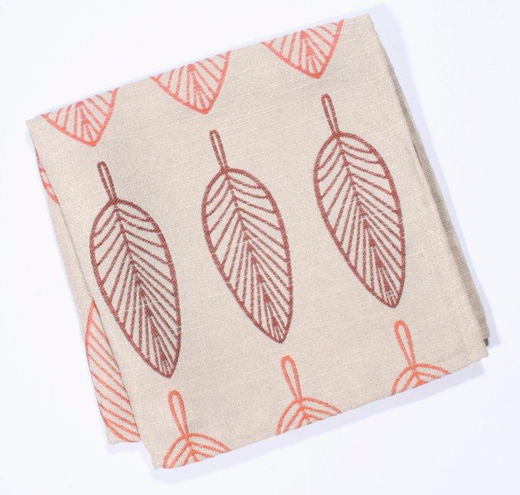 S/4 Embroidered Leaf Napkins, Orange