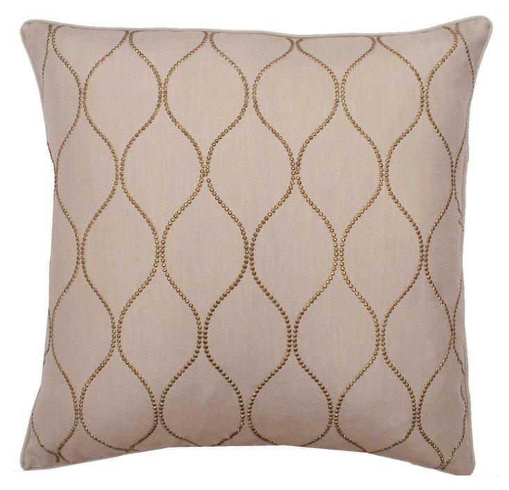 Trellis Studded 20x20 Pillow, Natural