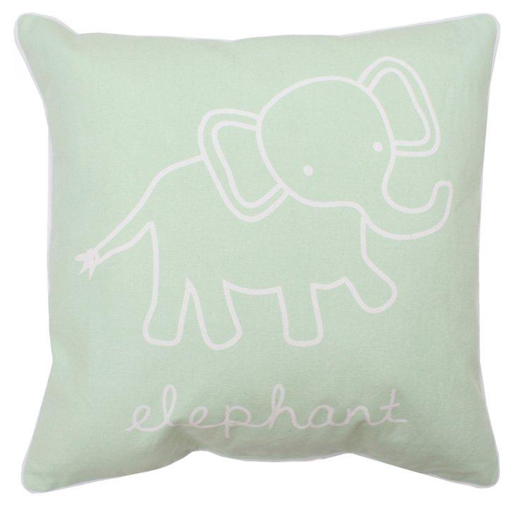 Elephant 18x18 Pillow, Pistachio