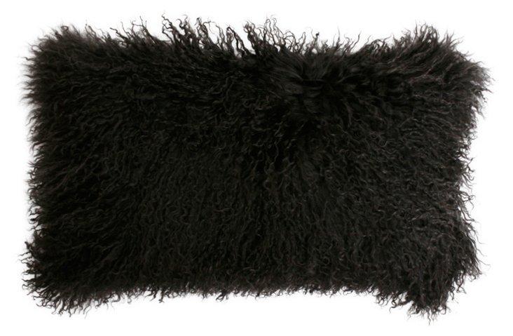 Mongolian 12x20 Lamb Pillow, Charcoal