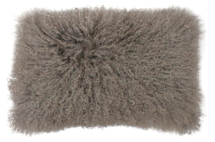 Mongolian 12x20 Lamb Pillow, Silver