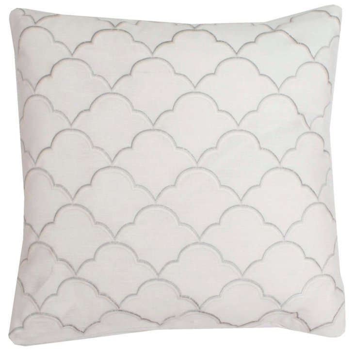 Scalloped 18x18 Pillow, White