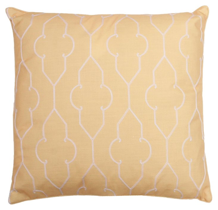 Tracy 20x20 Embroidered Pillow, Yellow