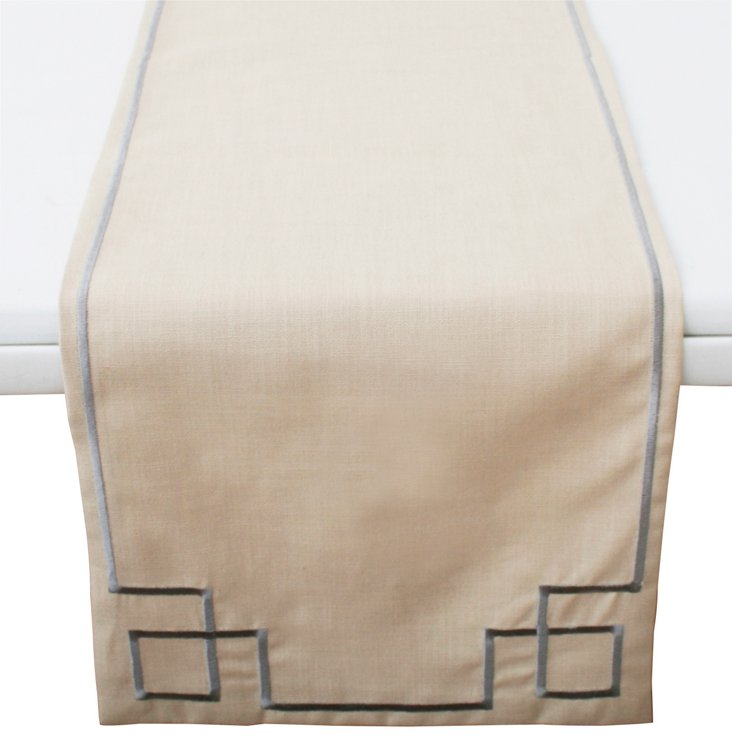Lara Embroidered Table Runner, Silver