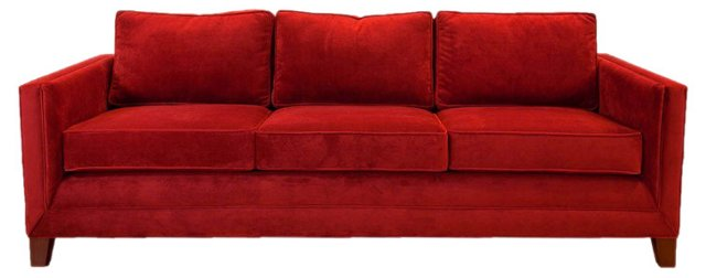 Anna Velvet Sofa, Ruby