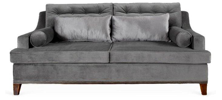 Karlin Velvet Sofa, Gray