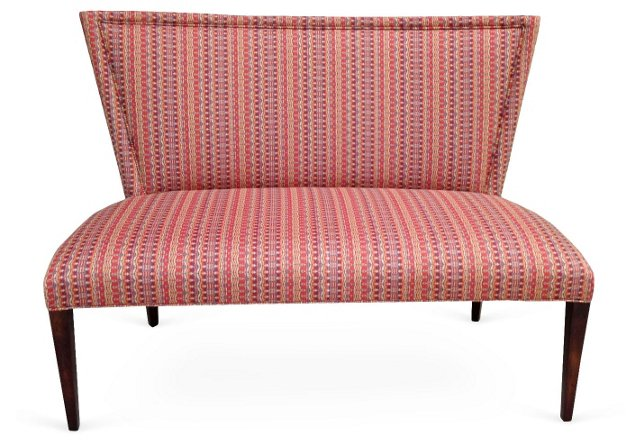 "Lauren 51"" Curved-Back Bench, Coral"