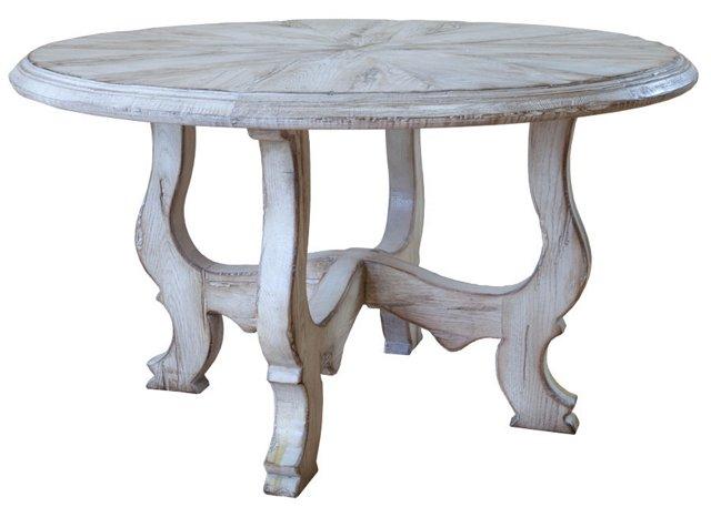 """Espana 54"""" Round Table, Gray/White"""