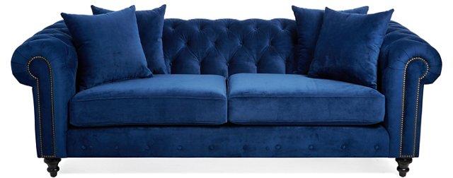 """Maria 90"""" Tufted Velvet Sofa, Blue"""
