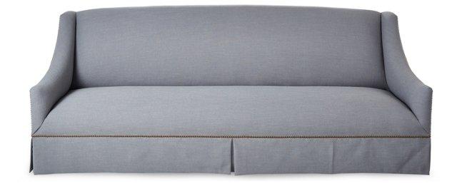 "Alana 95"" Linen Sofa, Steel Blue"