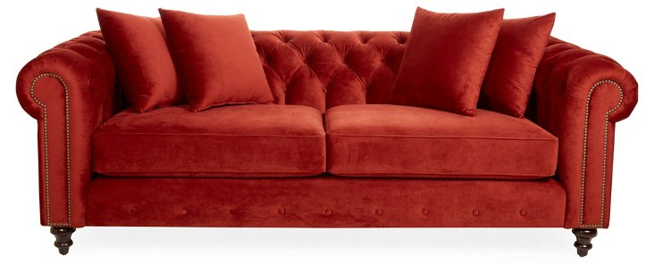 "Maria 90"" Linen Chesterfield, Crimson"