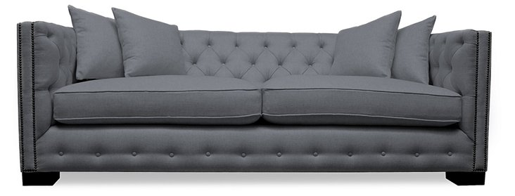 Carrie Tufted Sofa, Gray